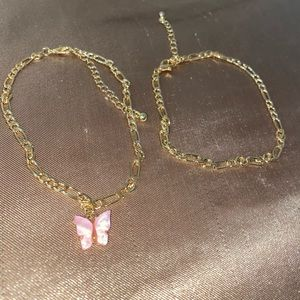 Light pink butterfly anklet set